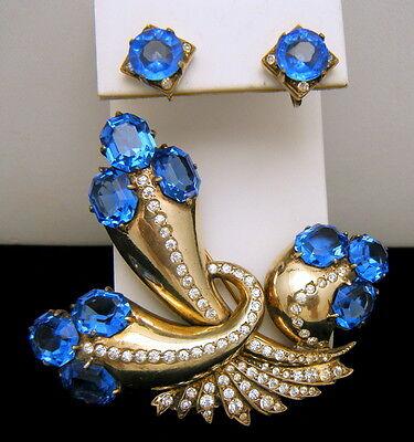 Stunning Eisenberg Sterling Fur Clip Earrings Set Sapphire Blue Rhinestones on Lookza