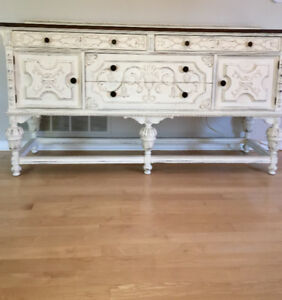 Classy one-of-a-kind chalk painted sideboard