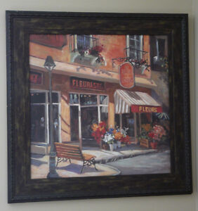 French florist painting with espresso brown frame