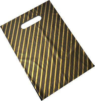 100 Small Black And Gold Stripe Plastic Polythene Carrier Bags - Size 7.5 x 10