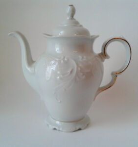 Antique WaWel China Teapot From POLAND Scalloped Design- White