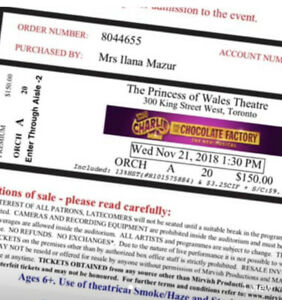 2 Tickets for Charlie and Chocolate factory.  21 October 1.30pm