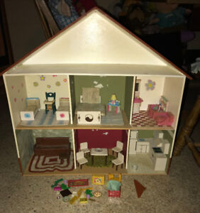 Hand Made Wood Doll House with Furniture