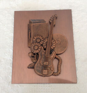 Vintage 60s Bass Guitar and Amp CopperCraft Guild Plaque