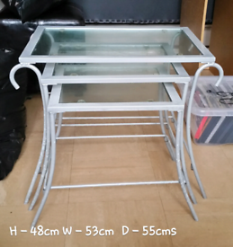 Metal/glass nest of tables