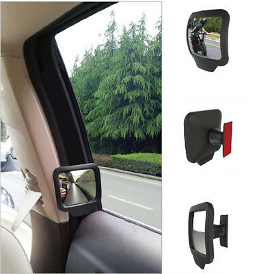 (1x Adjustable Blind Spot Mirror Car Magnetic Swivel Convex Lens Quare Rear View)