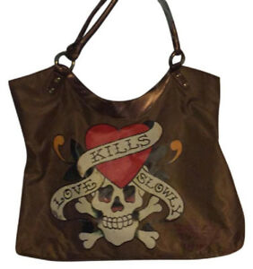 Bronze ED HARDY Tote Bag WITH DELUXE PRESTIGE COSMETICS SAMPLES