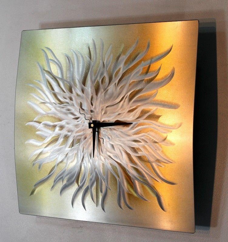 Statements2000 Abstract Modern Metal Wall Art Clock by Jon Allen Golden Burst