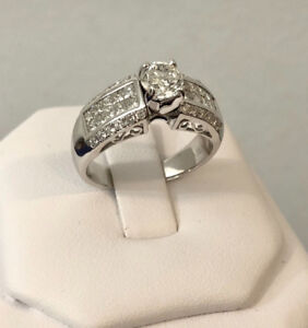 18k gold 1.51ct. diamond engagement ring//Certified at $12,250