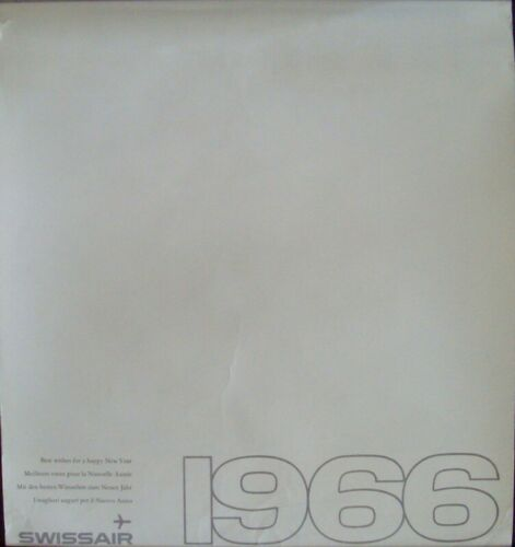 SWISSAIR 1966 CALENDAR Vintage 16x18 (7 pages) AIRLINES RARE