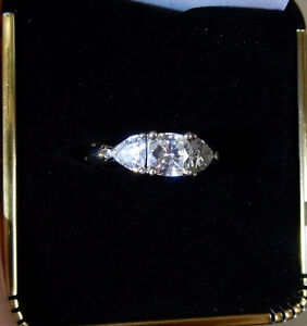 Cushion and Trillion Diamond Engagement Ring 14K White Gold