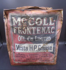VINTAGE 1920's McCOLL-FRONTENAC RED INDIAN VESTA H.P. GREASE CAN