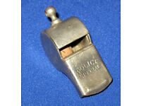 A vintage obsolete American Nickel-Plated Brass Escargot Police Special whistle