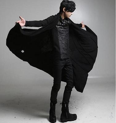 Men's Cotton Blend Poncho Parka Capel Cloak Outwear Gothic Cadigan  loose Coat