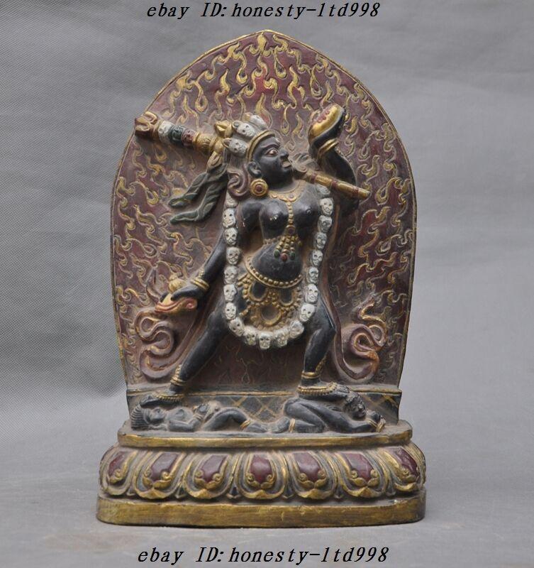 "12"" Rare Old Tibet Buddhism Incense Ash Skull Head Mahakala Tantra Buddha Statue"