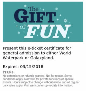 WEM Day passes for WEM Galaxyland or Waterpark