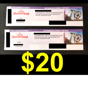 SELLING: 4 x Canada's Wonderland Tickets - $20 each!