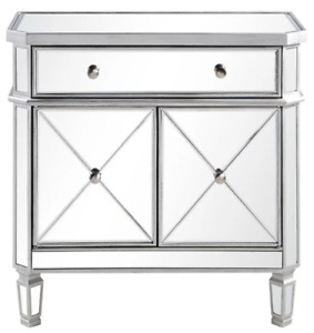1 Drawer Accent Cabinet (Silver and Beveled Mirror Night Stand)