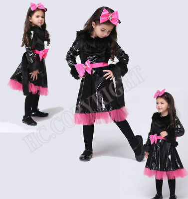 Child Catwoman Cosplay Cute Cat Costume Carnival Halloween Performance Costume