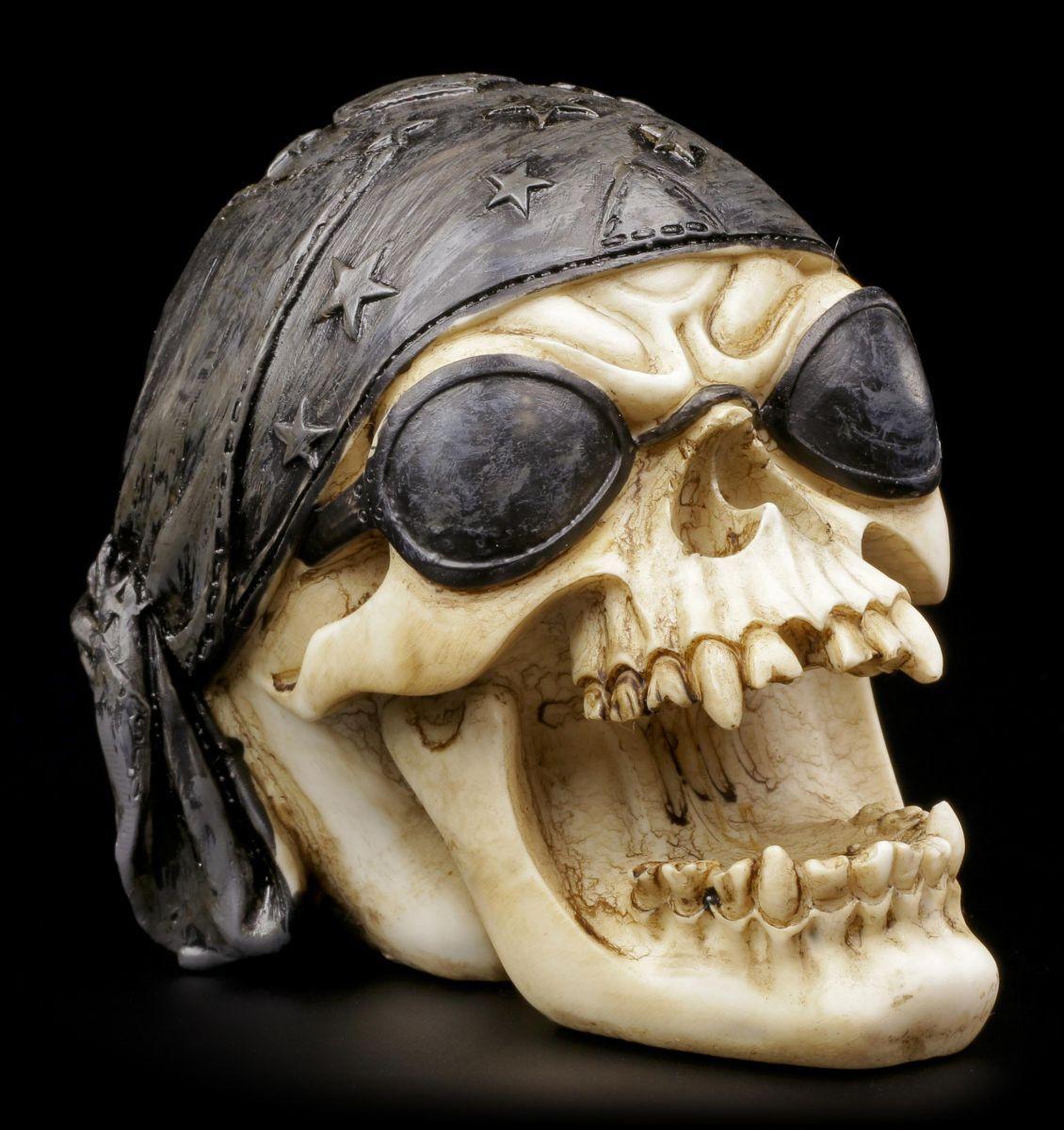 Totenkopf mit Sonnenbrille und Kopftuch - Figur Schädel Totenschädel Skull