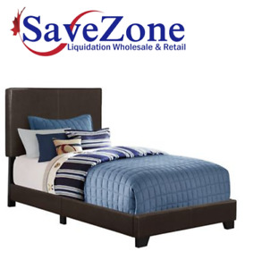 NEW-Monarch Specialties Dark Brown Leather-Look Twin Bed Frame