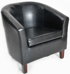 New Faux Leather Tub Chairs - Luxury Bucket Armchair Office Reception Furniture
