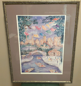 "Framed lithograph ""San Antonio Riverwalk"" by Jan Lenneville"