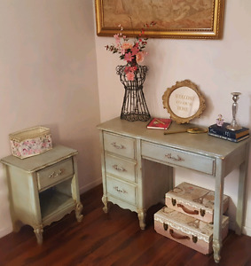 French Provincial Writing Desk and Bedside Table Refinished