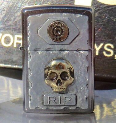 "ZIPPO 2016 CATALOG ""SKULL RIP"" STREET CHROME LIGHTER / COLLECTABLE NEW in BOX"