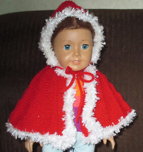 AMERICAN GIRL DOLL 'LITTLE RED RIDING HOOD' CAPE NEW HAND KNIT