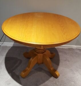 "Oak Table, 42"" Round on Pedestal"