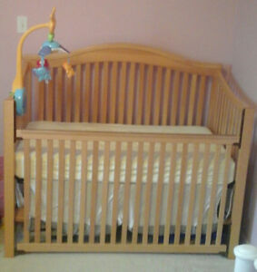 Baby Crib and Mattress (Solid Wood)