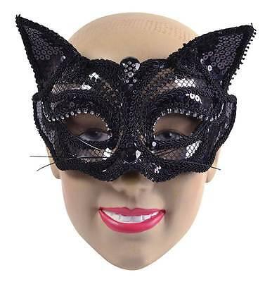 Schwarze Katze Pailletten Maske ( auf Brille Stil Rahmen), Kostüm