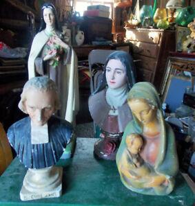 Statues religieuses ( curé d'Ars - Ste Thérèse de Lisieux )