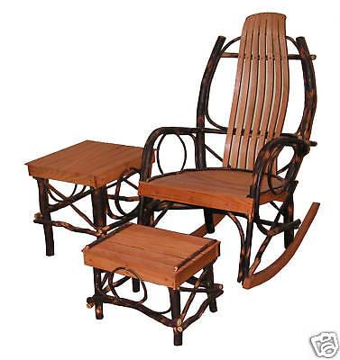 Amish hickory & oak rocking chair 1 foot stool 1 table Rocker 429 ()