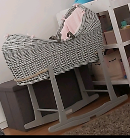 Moses basket, joie swing, changing unit, baby clothes bath
