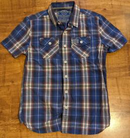 Superdry Medium short sleeved shirt. Blue and White check.