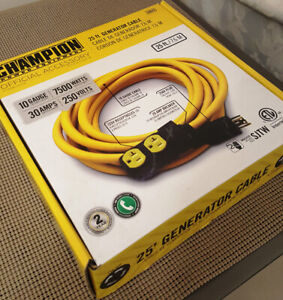 Champion 25' Generator Cable NEW! 10 gauge/7500 watts/30 amps