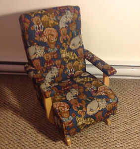 Children's Rocker - Teddy and Sleeping Cat Pattern