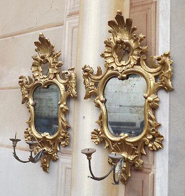 Coppia specchiere specchierine epoca '700 dorate, provenienza nobiliare
