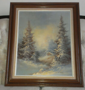 Original Signed and Framed Winter Cottage Theme Painting