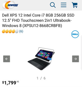 Dell XPS 12 2in1 carbon i7, 8gb, 256gb SSD M.2 & Windows 10 Pro