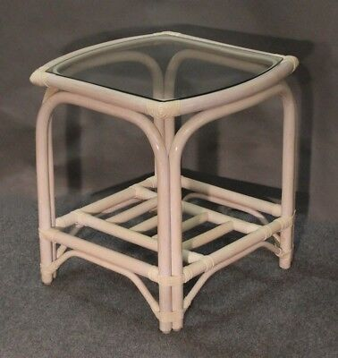 New Sunspree Rattan Side End Table with Glass Top (Whitewash Finish) Glass Rattan End Table