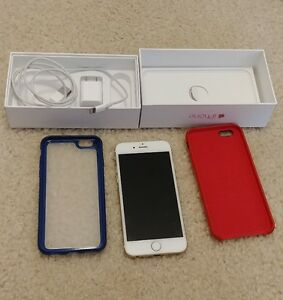 telus gold iphone 6  16gig- 2cases - charger - box
