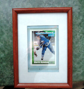 Two Hockey Mats Sundin Rookie Collector Cards Framed Pictures