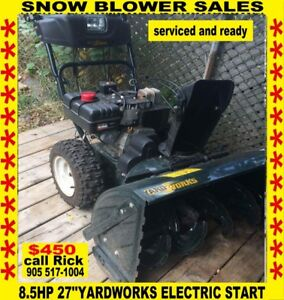 8.5hp 27''yardworks blower great  condition electric start