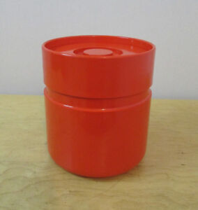 1970's Mid Century Modern Heller Ice Bucket / Ice Chest - ORANGE