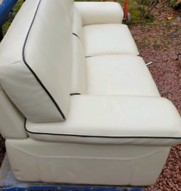 Solid Leather 2 seater sofa. Quality Cream Leather.