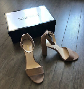 Nine West- Beige Block Sandal Heel