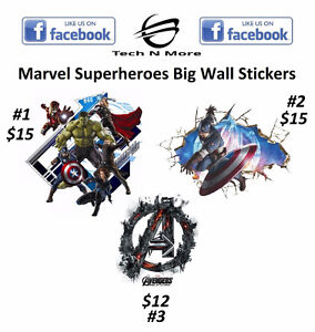 Marvel Superheroes Wall Stickers(3 Different Stickers To Choose)